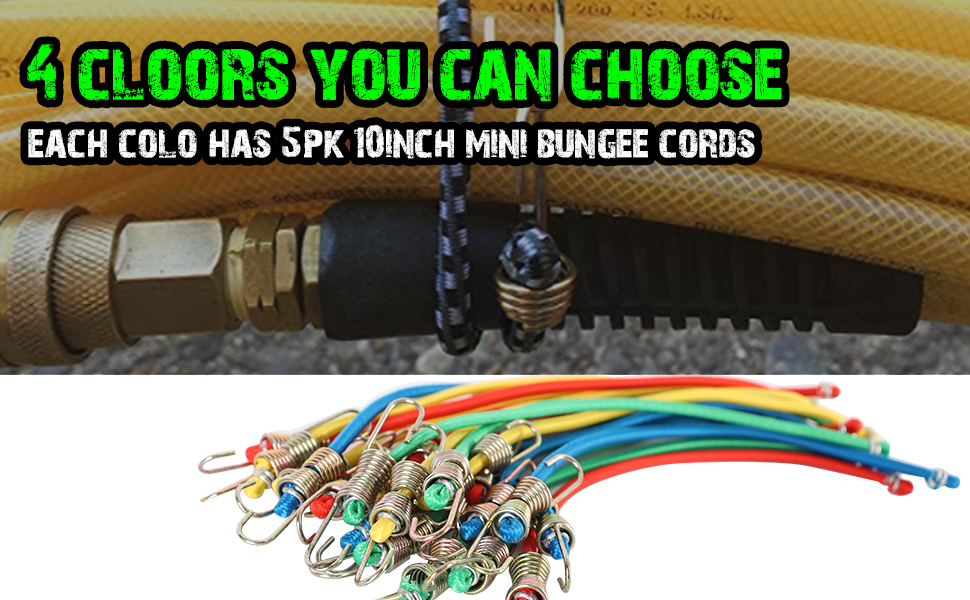 XSTRAP 10-Inch Mini Bungee Cords 20 Pieces Steel Hooks Comes in Red Blue Yellow And Green