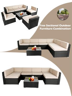 Sectional Sofa Patio Conversation Set,outdoor rattan wicker sofa,7 Pieces Patio Furniture