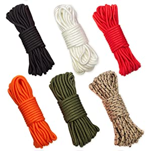 rope soft smooth tiedown knots colors green black red orange desert camo hiking backpacking camping