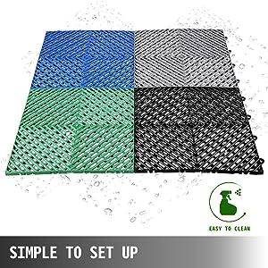 Deck Flooring for Pool Shower Bathroom Deck Patio Garage Drainage Tiles 12x12x0.5 Inches Happybuy Rubber Tiles Interlocking 50 PCS Blue Outdoor Interlocking Tiles Deck Tiles Outdoor Floor Tiles