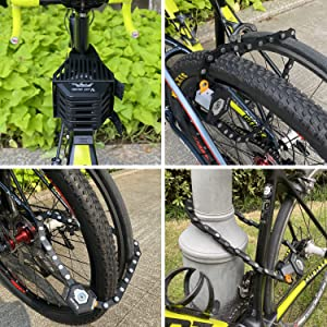 Bike Lock 5-Digit Resettable Number 180cm/12mm Heavy Duty Chain Lock Combination Cable Lock Bicycle