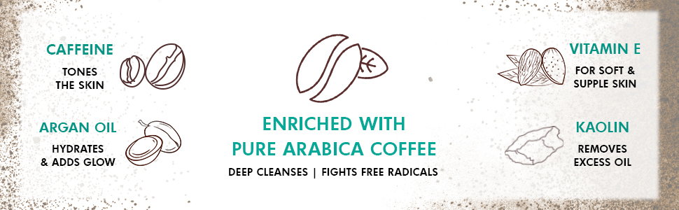 caffeine argan oil enriched with pure arabica coffee deep cleanses fights radicals vitamine kaolin