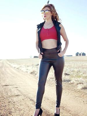 faux leather trousers women