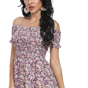 off shoudle floral long dresses