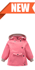 girls hooded rain jacket coat