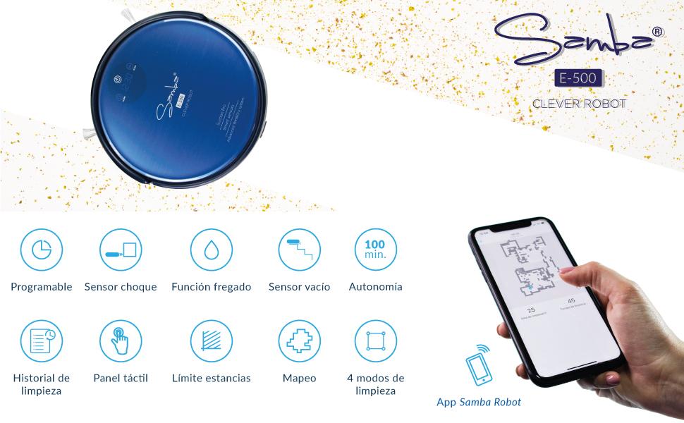 SAMBA E500 Robot Aspirador Y Fregasuelos ¡5en1! con Mapeo y App ...