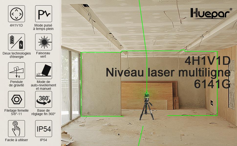 Huepar 6141G Niveau Laser Croix Vert avec Point d'Aplomb Auto-nivellement Commu