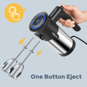 Electric Hand Mixer 5 Speed Hand Mixer with Turbo Function, 300W, 2 Beaters and Dough Hooks,