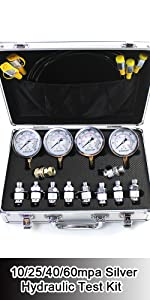 Silver Hydraulic Pressure Gauges Kit with 4 Gauges