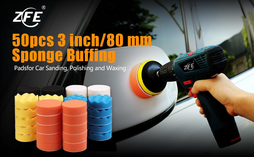 50pcs 3inch Buffing Waxing Polishing Sponge Pads Kit Set For Car Polisher Drill