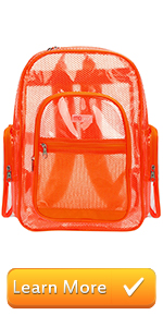 orange clear backpack see-thru bag school bags book bag student travel carry on stadium bag outdoor