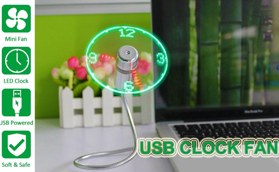 Ventilador USB LED, HuiHeng Mini Ventilador De Reloj LED Con ...