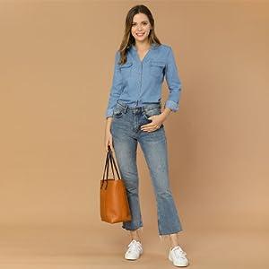 Allegra K Women's Denim Stand Collar Split Neck Chest Pocket Long Sleeve Button Shirt