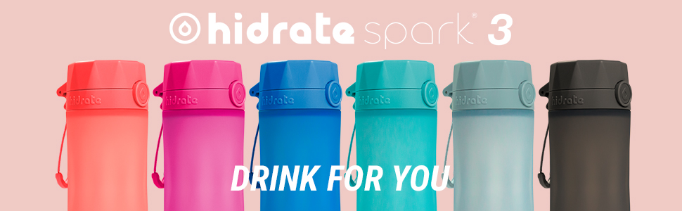 hidrate spark 3 smart water bottle banner, available colors, fun, bright, stylish and slim design