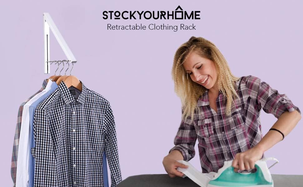 Stock Your Home Folding Clothes Hanger Wall Mounted Retractable Clothes Rack, Aluminum