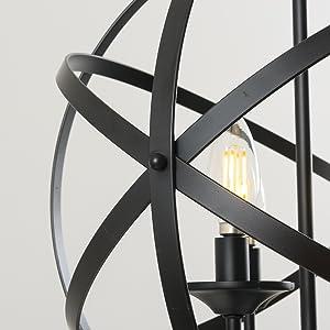 Spherical Globe Black Pendant Light