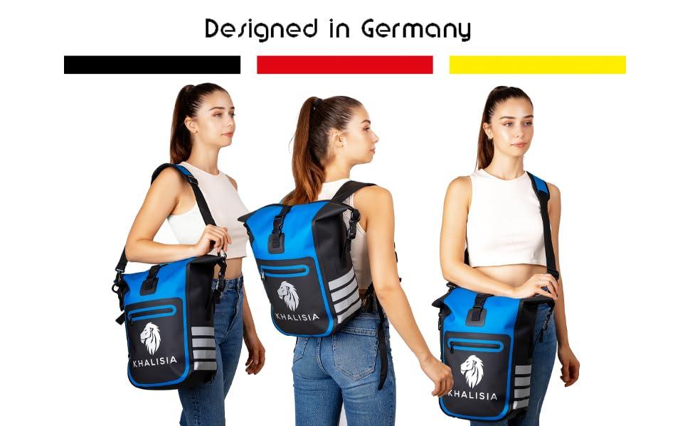 Fahrradrucksack Rolltop Damen Gepäckträgertasche Fahrradtasche wasserdicht nachhaltig blau khalisia