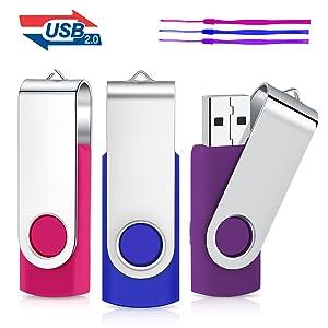 8GB Unidad Flash USB, Cardfuss 3Pack USB2.0 Memory Stick Swivel Thumb Drives USB Stick Jump Drive Pen Drive Almacenamiento de Datos con indicador LED (Multicolor con Cuerdas de Seguridad): Amazon.es: Electrónica