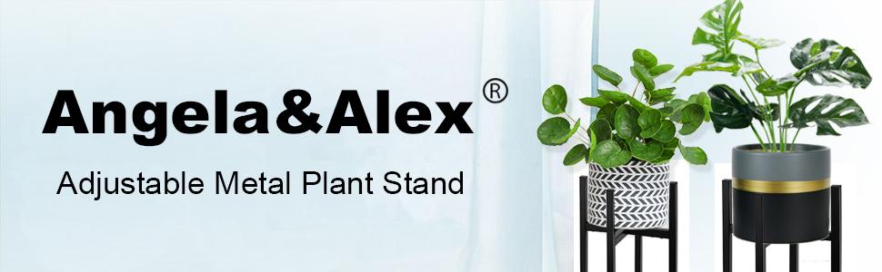Adjustable Plant Stand Angela Alex Indoor Mid Century Plant Holder Modern Metal Planter Fit Medium Large Pots Sizes For Indoor Outdoor Planters Adjustable Width 7 To 12 Pot Not Included Garden