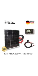 VIASOLAR Kit 150W Pro 12V Panel Solar policristalino: Amazon ...