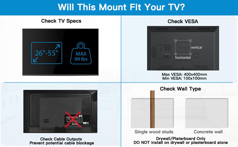 LED, LCD, OLED Flat Curved TVs Articulating/Full motion/Swivel/Tilt TV Wall Mount