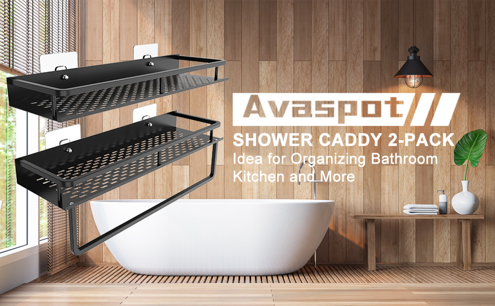 Wall Mounted Storage Organizer with Towel Bar 15 inches Aluminum Wide Space Shower Shelf with Adhesive Racks Strong and Sturdy for Bathroom Kitchen Black Avaspot Shower Caddy 2-Pack