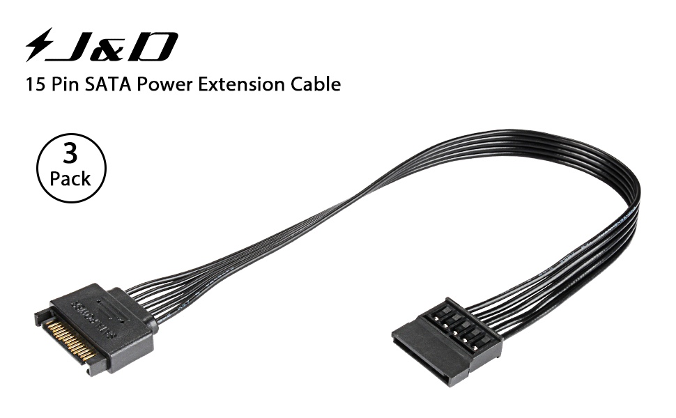 J/&D 2-Pack 15 Pin SATA Power Y Splitter Cable Male to Female 8 inch