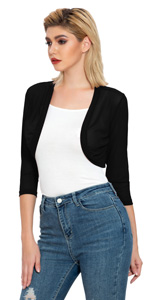 Women's 3/4 Sleeve Shrug Open Front Cardigan Bolero Jacket