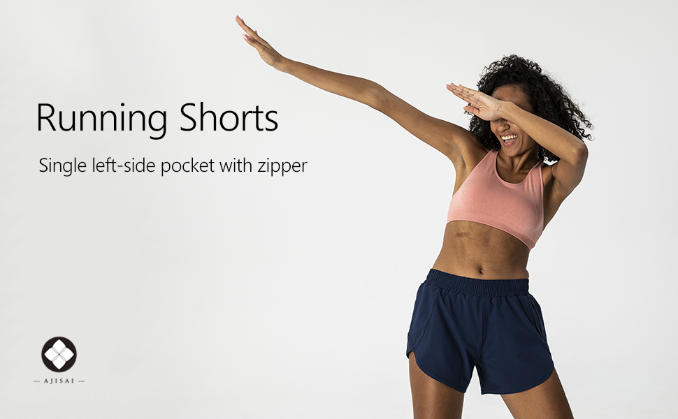 running shorts with zipper