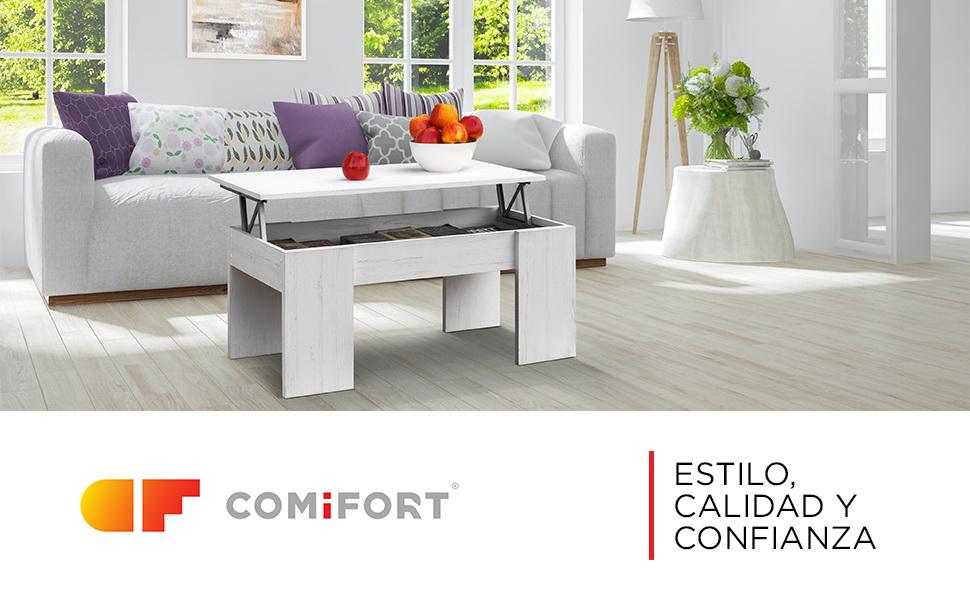 COMIFORT Mesa Centro Elevable - Mesa Salón Funcional con Gran ...