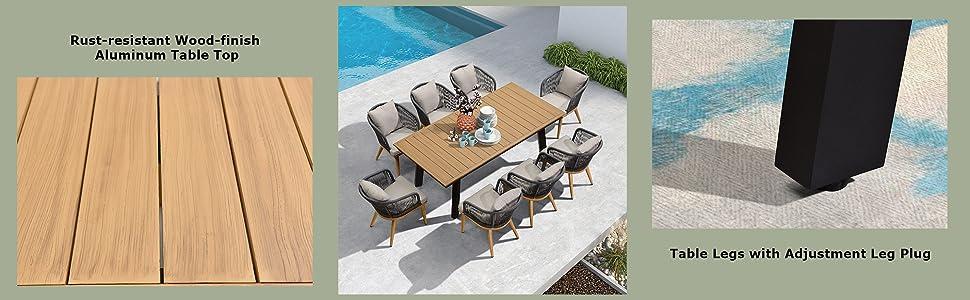 rust resistance metal aluminium black outdoor dining table frame with adjustment leg plug patio set