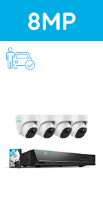 8CH 8MP Security Camera System Person/Vehicle Detection