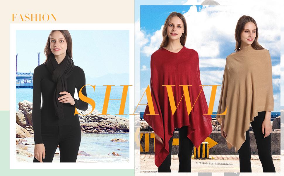 solid women poncho shawl