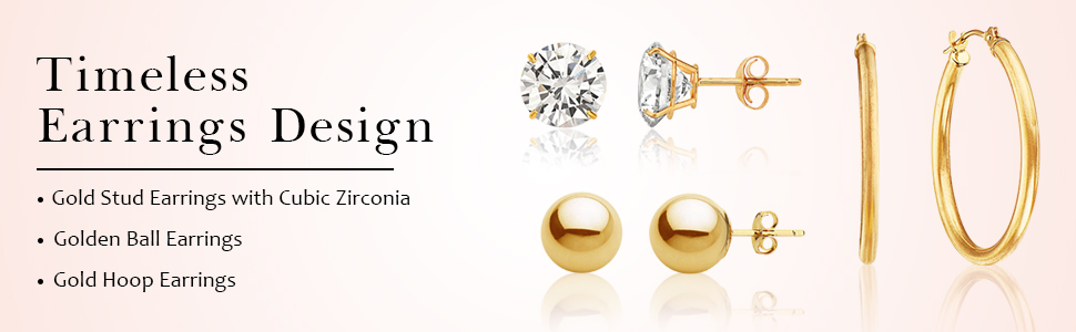 Gold Earrings/Ball and CZ