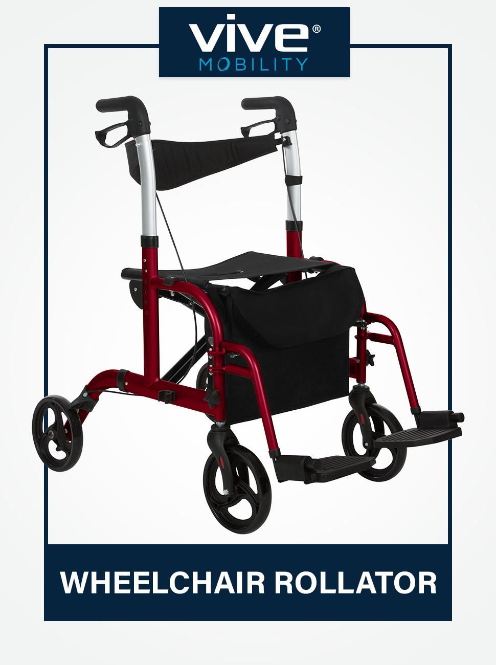 Vive Mobility Rollator Walker Seat  Wheelchair Transport Chair  8 Inch Wheels  Foldable, Lightweight