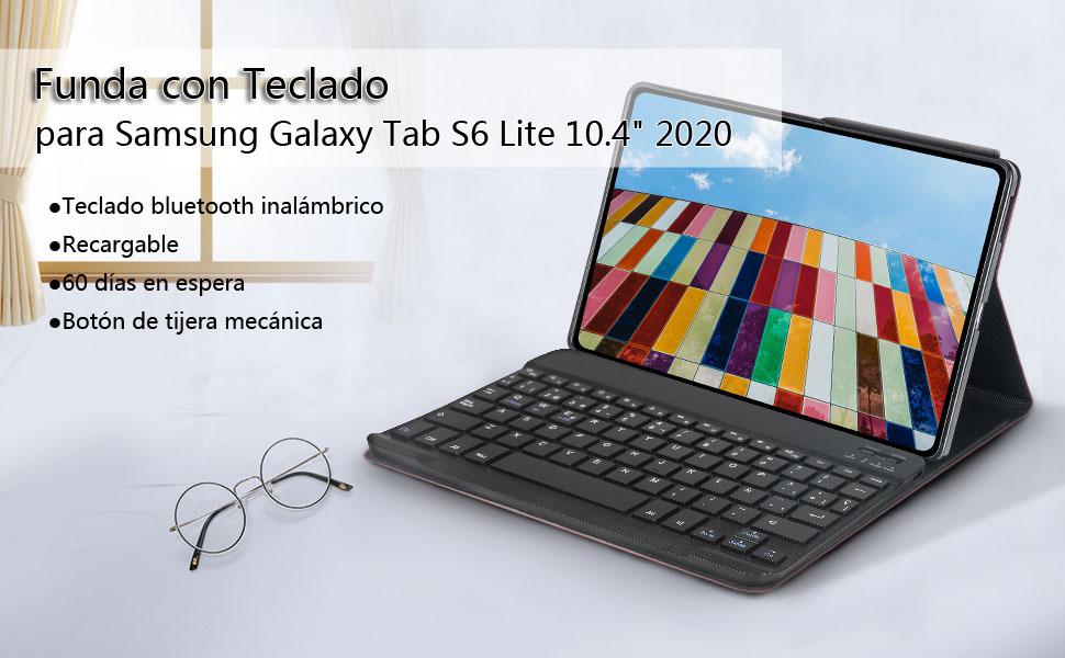 """DINGRICH Funda Teclado para Samsung Galaxy Tab S6 Lite 10.4"""" 2020 P610/P615, Español Ñ Teclado Bluetooth Inalámbrico Extraíble Magnético para Samsung ..."""