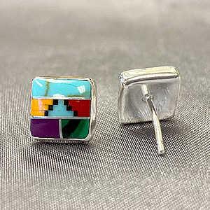 8mm Square Simulated Multicolor Southwestern Style 925 Sterling Silver Stud Earrings…