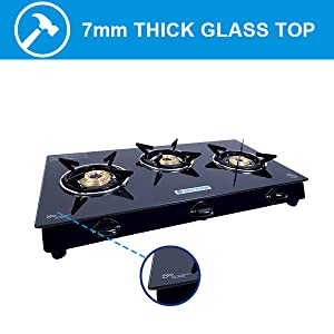 gas stove with glass top, brass burner gas stove, 3 burner gas, glass top gas stove, gas burner