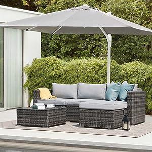 Patiorama 5 Pieces Patio Sectional, Outdoor Patio Furniture Sets Rattan Sofa Wicker Furniture Set