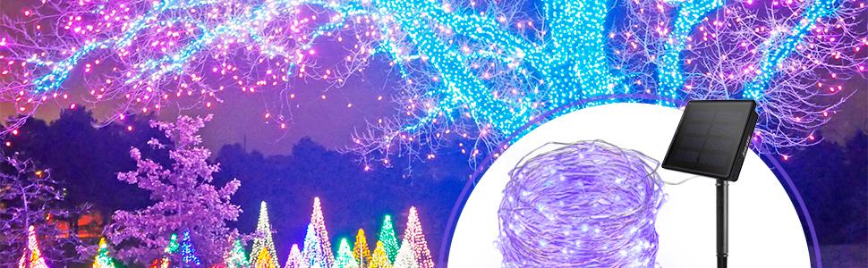solar string lights purple