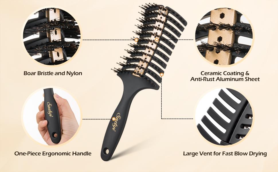 Sndyi Detangling Brush, heats up faster & retains heat longer during styling