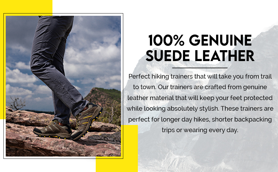 Perfect hiking shoes that are made of genuine leather material to keep you protected