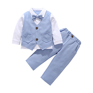HenzWorld Boys Formal Suit Birthday Party Wedding Outfit Set Long Sleeve Gentleman Clothes Bowtie Shirt Vest Pants