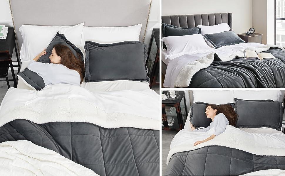 get cozy with the Bedsure Flannel Fleece Sherpa  Velvet Comforter Set 3 Pieces