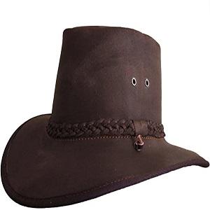 marrone scuro Cappelli in pelle Premium Cowboy Cappelli stile Outback fatto a mano in Sudafrica