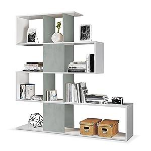 Habitdesign Estantería Librería, Salón, Comedor o Despacho, Modelo Zig-Zag, Acabado en Blanco Artik y Gris Cemento, Medidas: 145 cm (Alto) x 145 cm ...