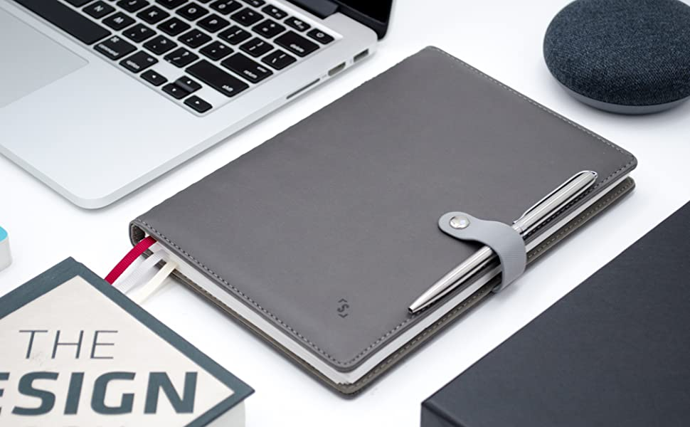 stylish minimalist grey leather planner executive journal