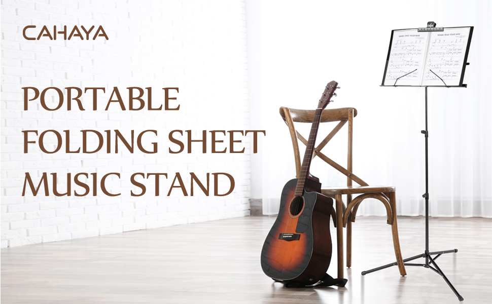 CAHAYA sheet music stand folding with carry bag adjustable book plates tray