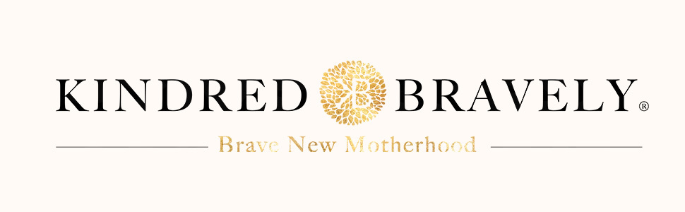 Kindred Bravely logo with gold starburst and light background