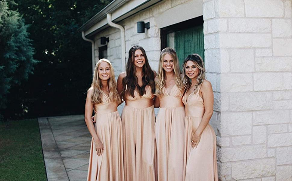 Gold Bridesmaid Dresses Long for Women Wedding